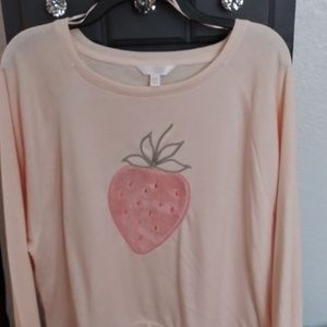 Lauren Conrad XXl fuzzy strawberry sweatshirt